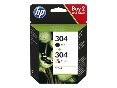 HP 304 2-Pack Black/Tri-color Ink Cartridges