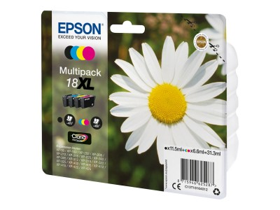 EPSON 18XL Tinte schwarz und dreifarbig hohe Kapazität 31.3ml 1-pack blister ohne Alarm